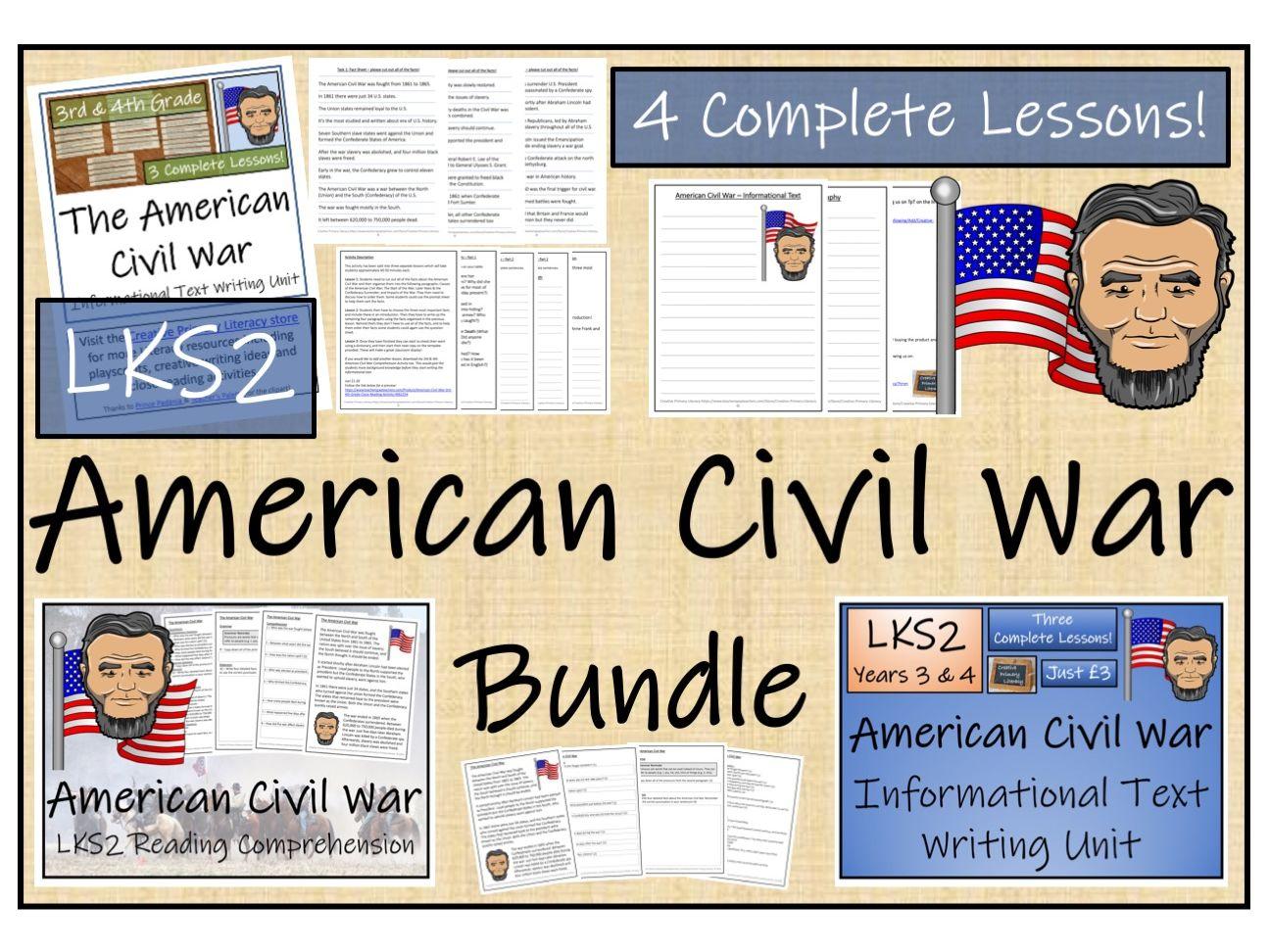 LKS2 History - American Civil War Reading Comprehension & Informational Text Writing Bundle