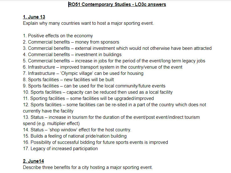 LO3c questions and answers - OCR Cambridge National Sports Studies RO51