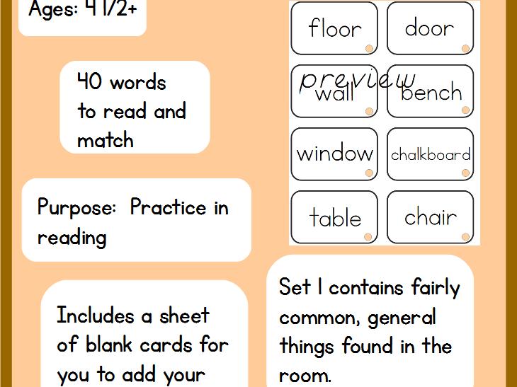 Montessori Room Labels - Set One