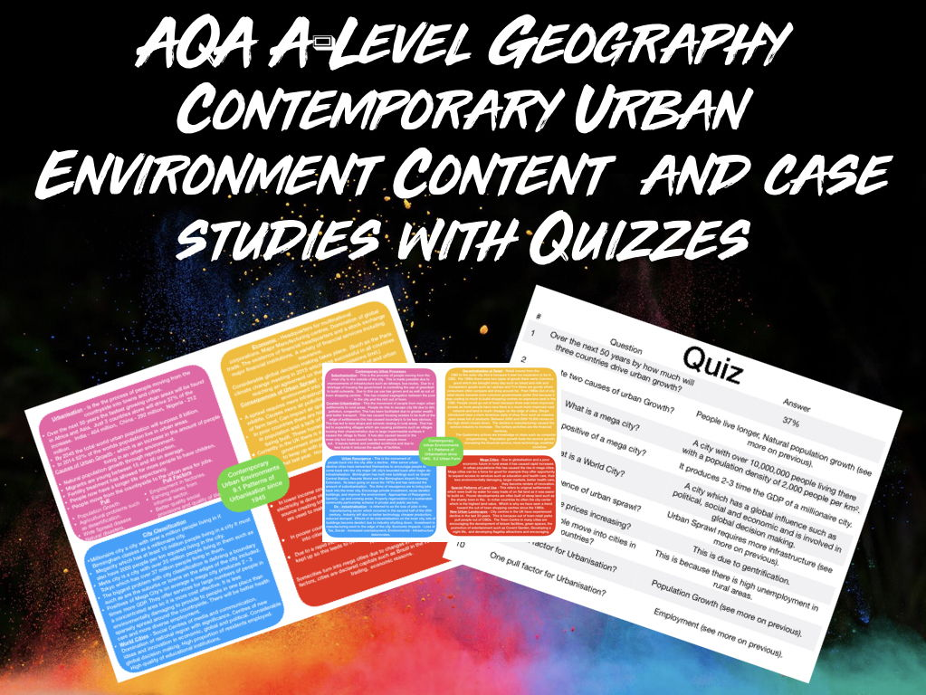 AQA A-Level Geography Contemporary Urban Environments  Content and Case Studies Bundle With Quizzes