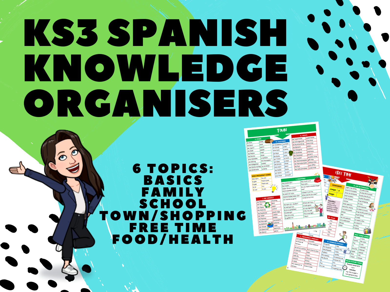 KS3 Spanish Knowledge Organisers 6-Topic Bundle