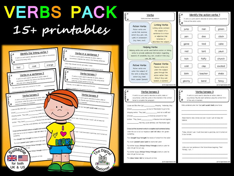 photograph about Parts of Speech Chart Printable named Verbs Pack (Sections of Speech) (relevant United kingdom/US) - 15+ printables