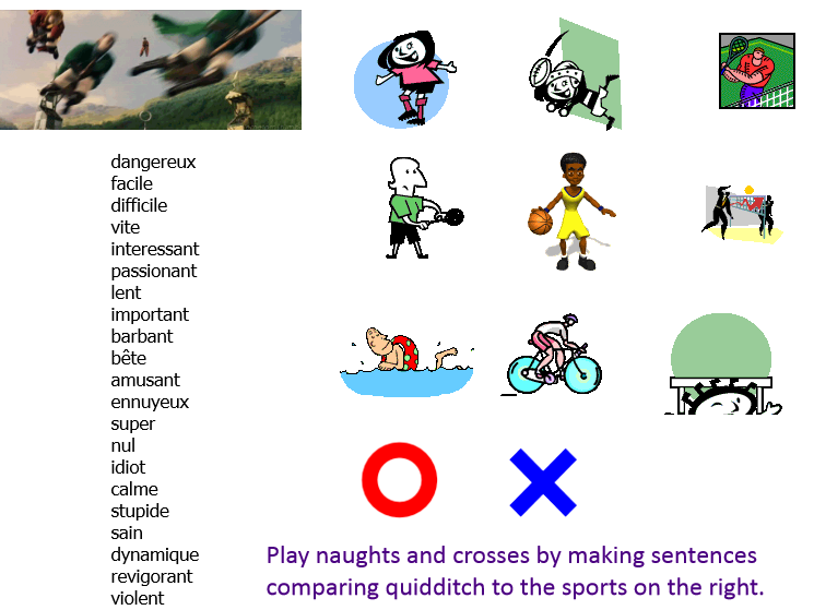 Un match de quidditch (Talking about sports in French). UPDATED WITH POWERPOINT
