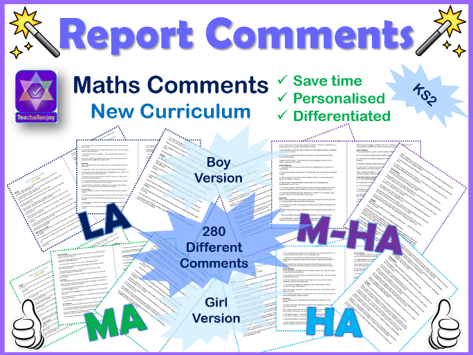 Maths Report Comments