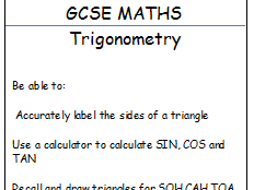 GCSE maths Trigonometry workbook and PPT with matching cards