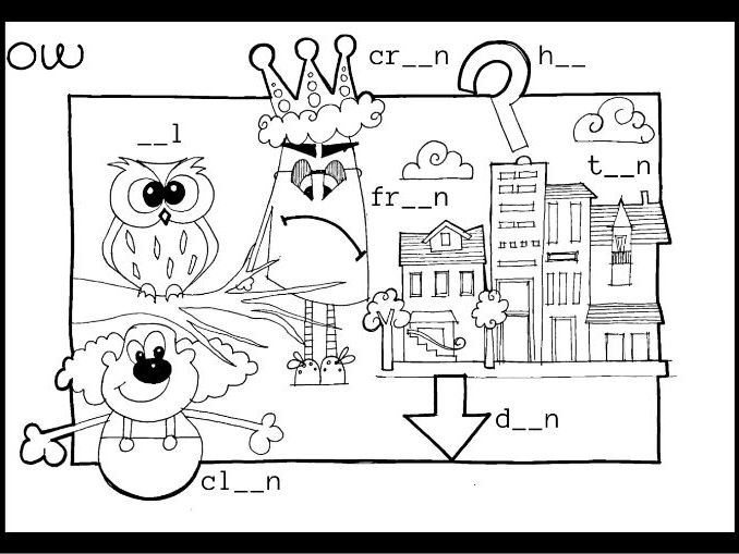 Phonics spotter ow (owl) - worksheet and poster