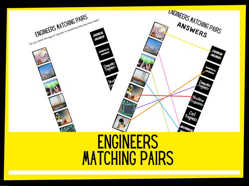 Engineers matching pairs | KS1 KS2 Primary science | PSHE