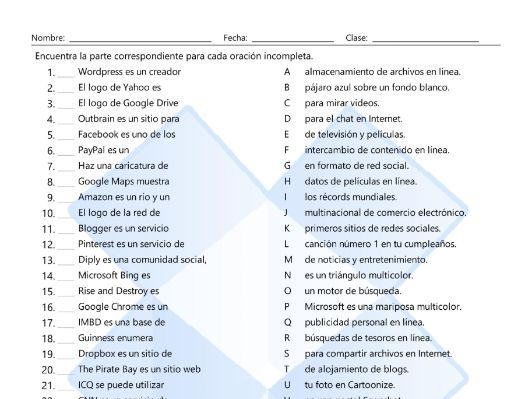 Internet Sites Sentence Match Spanish Worksheet