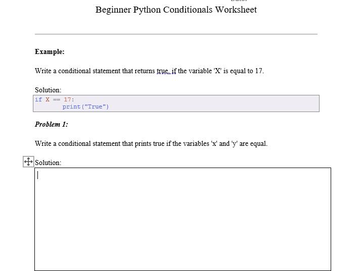 Beginner Python Conditionals Worksheet