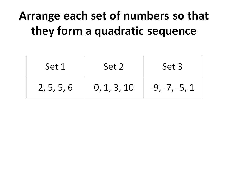 Quadratic sequences rich tasks