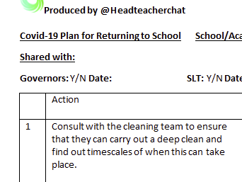 Comprehensive Action Plan for Reopening your School