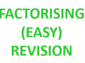 Revision Mat - Factorisation (Easy)