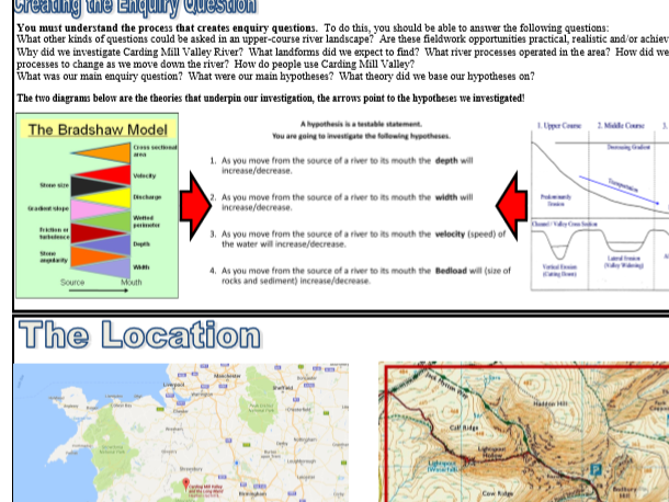 Edexcel Geography 9-1 Rivers Fieldwork - Carding Mill Valley Revision Page