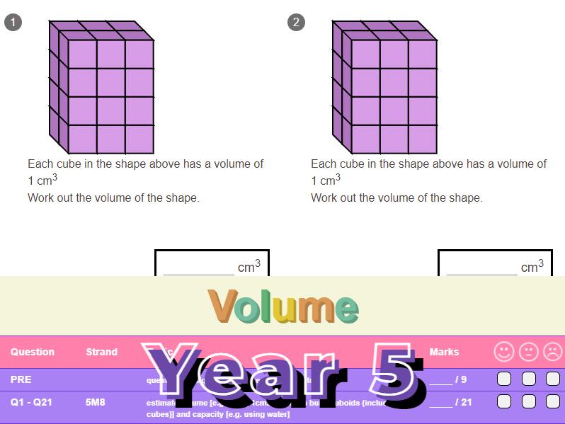 Volume Worksheet + Answers (KS2 - Year 5)