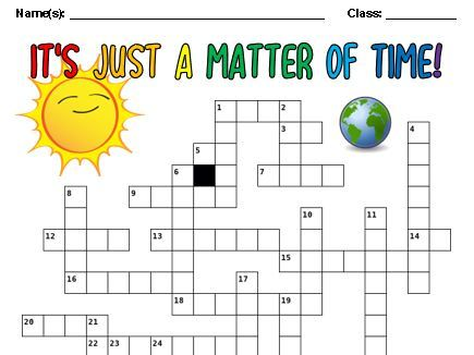It's Just a Matter of Time Crossword [A3 Size]