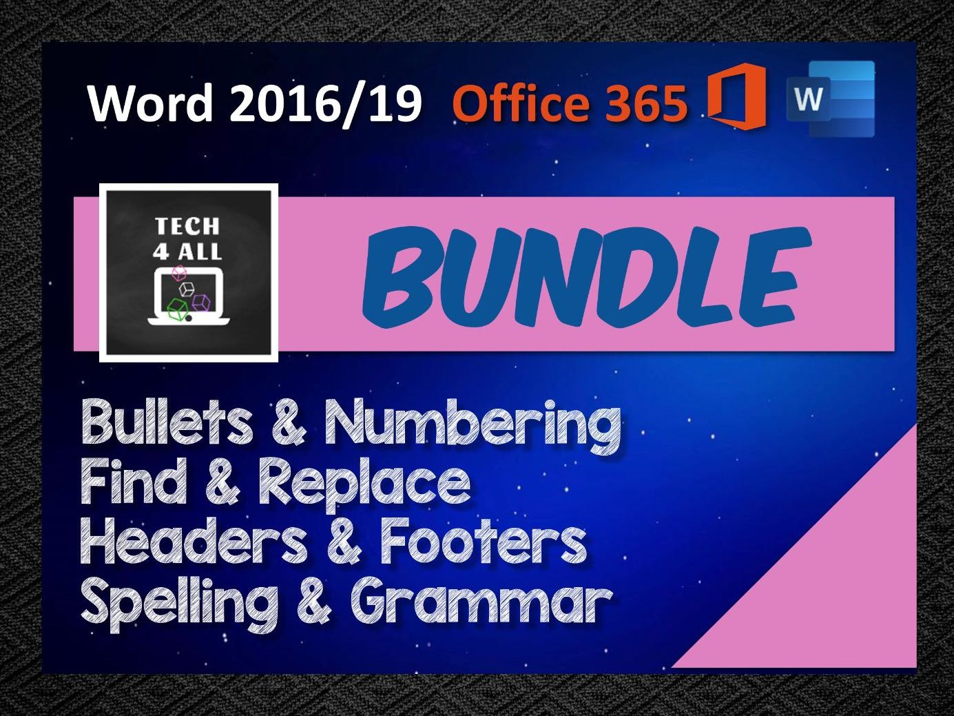 Bundle - Bullets & Numbering, Find & Replace, Headers & Footers, Spelling & Grammar