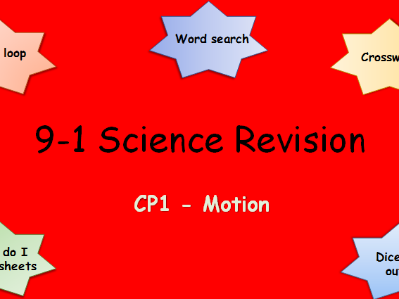 Edexcel CP1 Motion Revision pack Science 9-1