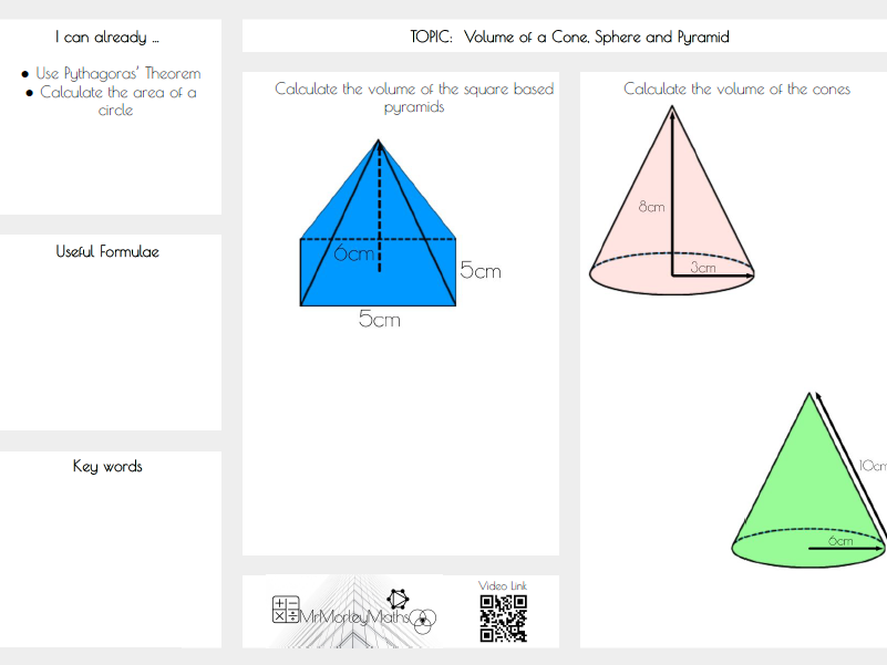 Volume of Cone, Sphere, Pyramid