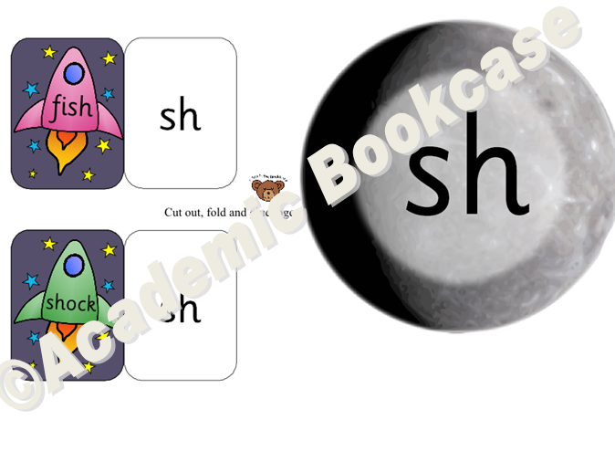 Self check phonics flashcards - rocket and planet matching game - phase 3
