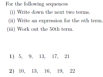 The nth term of a sequence worksheet (with solutions)
