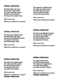 Modalverben (German modal verbs) Zwillinge Twins speaking activity
