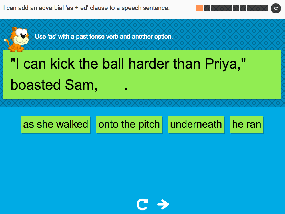 I can add an adverbial as end clause to a speech sentence - Interactive Activity - Year 5 Spag