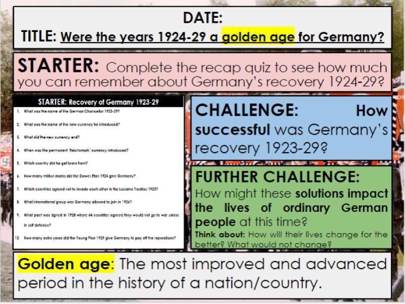 Edexcel 9-1 History GCSE: Paper 3 Germany: KT1 Lesson 10: Weimar Golden Era Culture: Q3b and Q3c