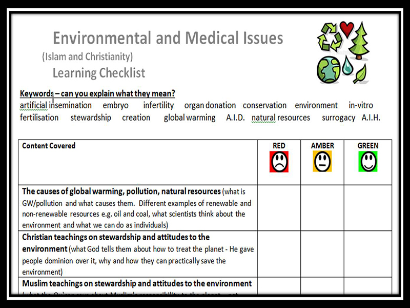 Learning Checklist: Environmental and Medical Issues