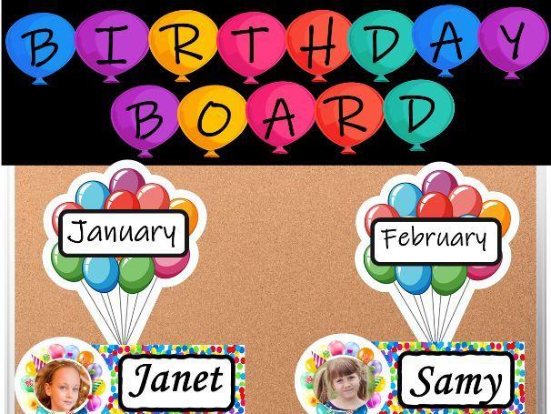 Birthday Board Display - Balloon Theme with Photos | Back to School Bulletin