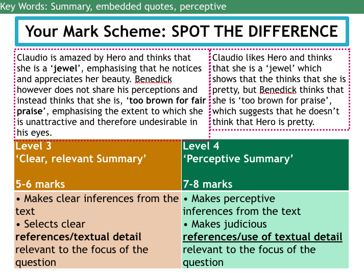 NEW 2015 SPEC AQA SOL: Much Ado about Nothing with Reading Paper 2 Section A skills