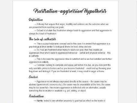 A-Level AQA Psychology - Aggression notes
