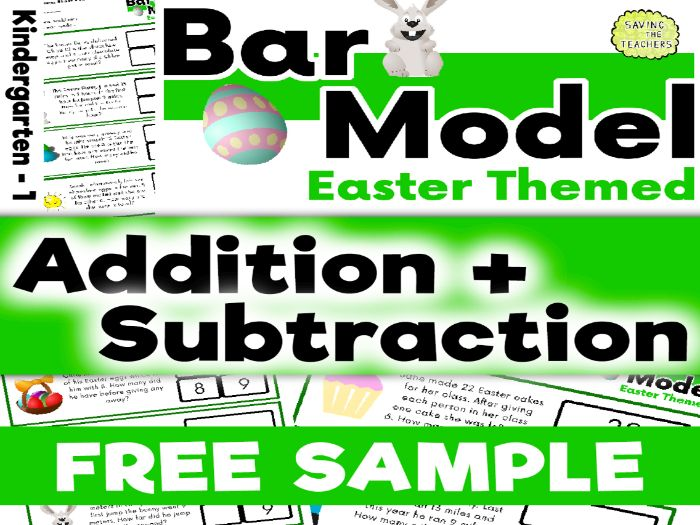 Bar Model Easter Addition and Subtraction Word Problems: Years 1 - 2 FREE SAMPLE