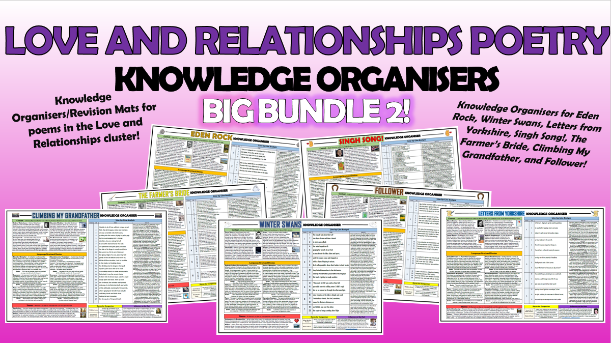 Love and Relationships Poetry Knowledge Organisers Big Bundle 2!