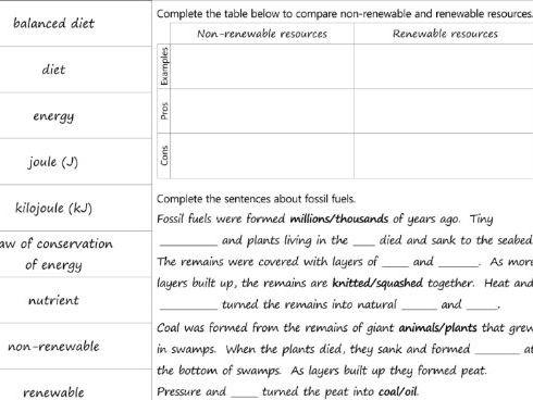 7I Energy unit: Foldable revision activity