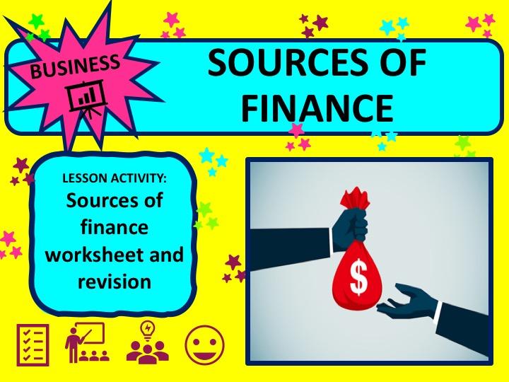 Sources of Finance Worksheet