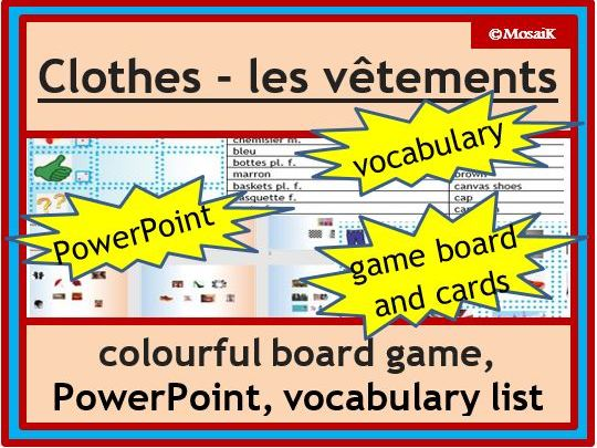 French clothes, les vetements: dice game to describe pictures and practise speaking