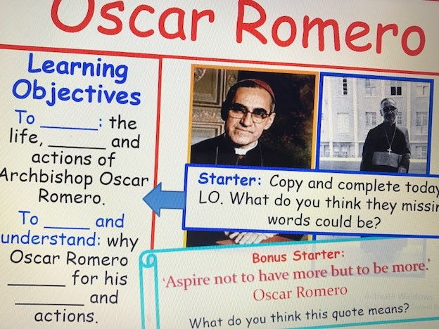 KS3 RE Key Religious Figures - Lesson 5 Oscar Romero
