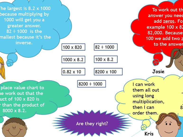 Multiplying by 10,100,1000 reasoning activity