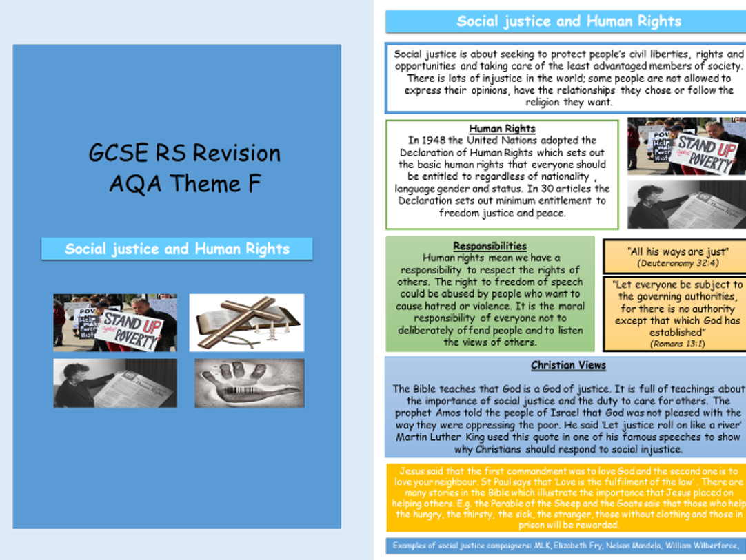 AQA Theme F Human Rights and Social Justice Bundle