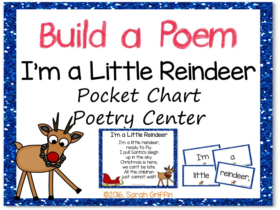 Build a Poem: I'm a Little Reindeer - Christmas pocket chart reading center