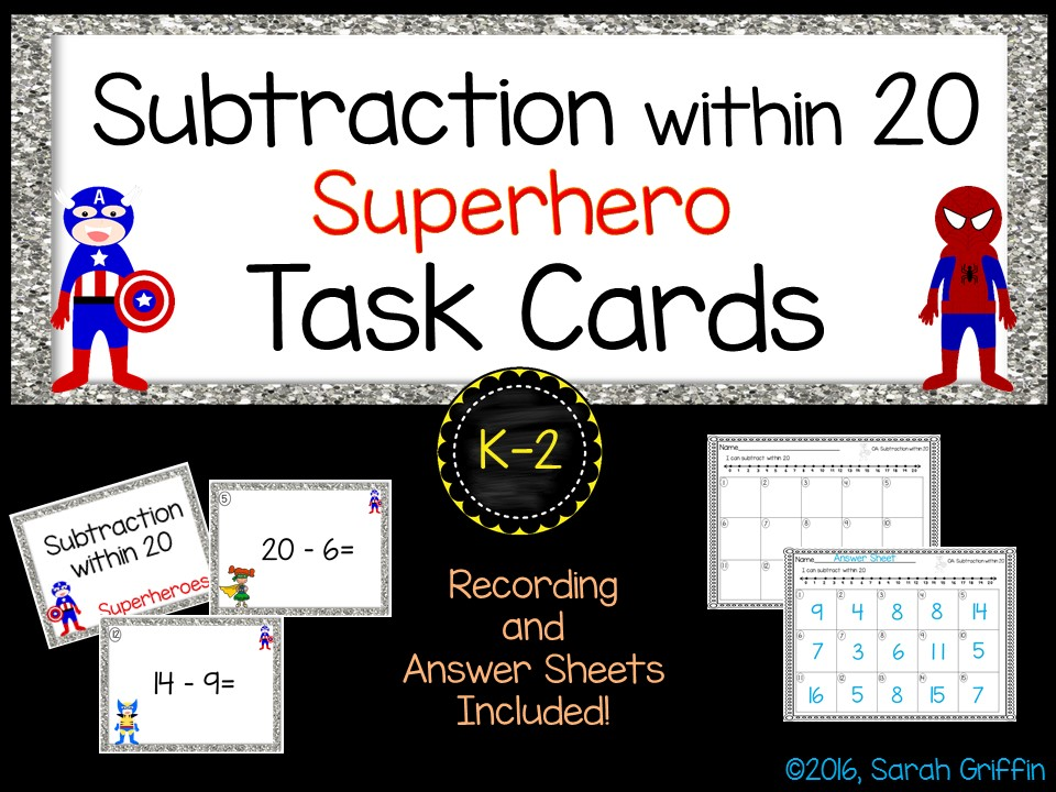 Math Task Cards - Subtraction within 20 - Superheroes