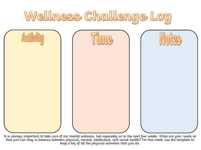 Well-Being Log - Mental Health Week