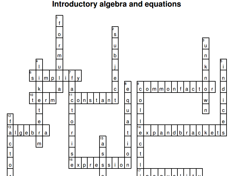 Algebra crosswords