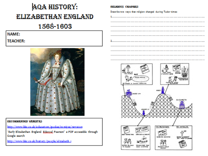 AQA Elizabethan England Home Learning Booklet - Early Elizabeth