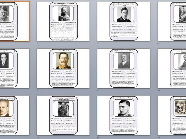 Weimar and Nazi Germany Top Trumps Revision Tool