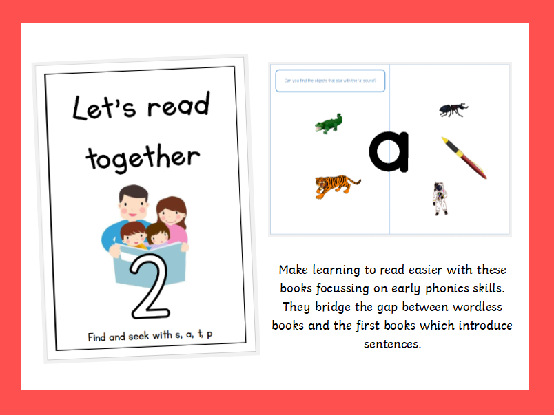Pre-reader series: Let's Read Together - Book 2, Find and seek with s, a, t, p