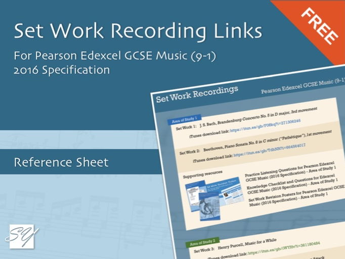 Set Work iTunes Download Links for Pearson Edexcel GCSE Music (9-1), 2016 Specification