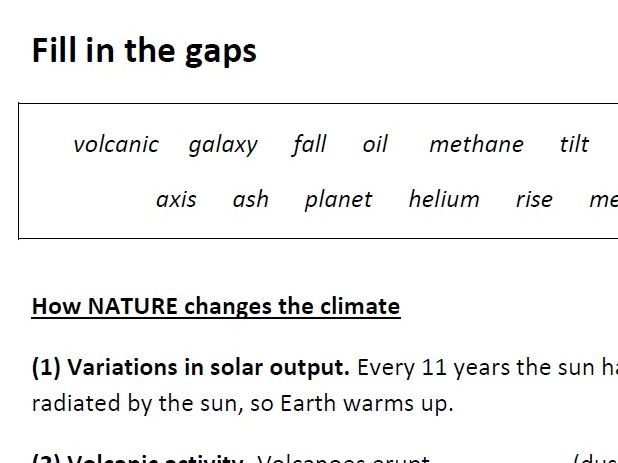 Climate change causes gap-fill worksheet