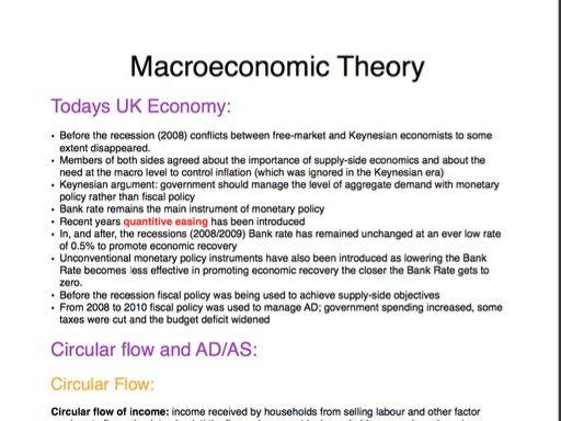 A2 AQA Economics: Macroeconomic Theory