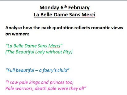 Keats Poetry - AQA Aspects of Tragedy - La Belle Dame Sans Merci